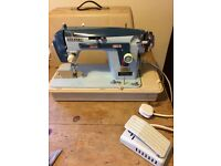 Vintage New Home Sewing Machine Model 532, Blue, Working Order, Various accessories, foot pedal etc