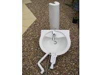 """Ideal"" brand bathroom basin, pedestal and mixer tap"