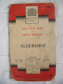 "Vintage 1964 paper Ordnance Survey 1"" map no 169 Aldershot £4.50 ovno."