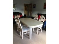 Limed oak table and 4 chairs