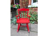 Gorgeous painted solid wood vintage child's rocking chair