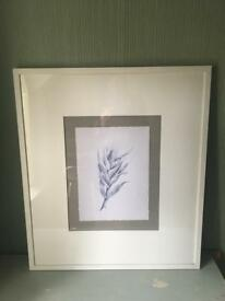 2x large white framed pictures