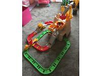 Little Tikes Boulder Train Set Includes a crane, construction vehicles and train tracks
