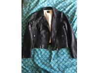 Oasis leather look biker jacket