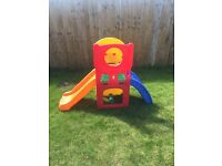 Children's outdoor slide and sports activity unit
