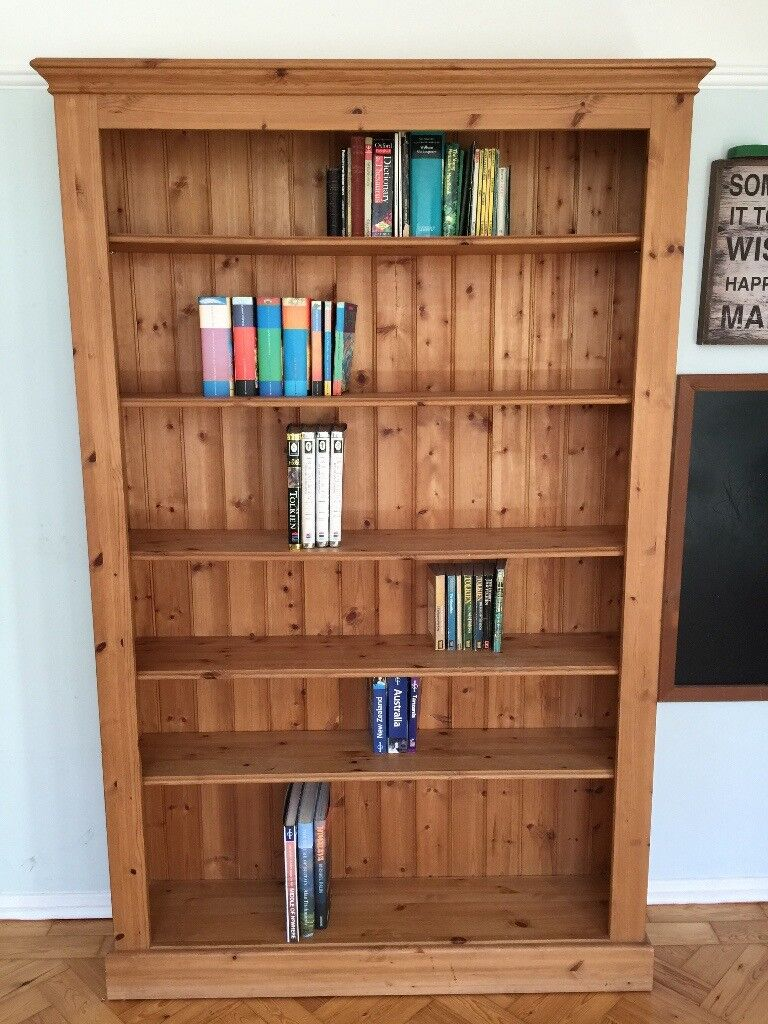 Lovely Wide Solid Wood Bookshelf With Adjustable Height Shelves