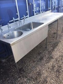 stainless steel commercial washing basins and stainless steel work tops