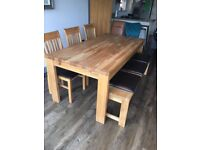 Sold oak dining extendable dining table