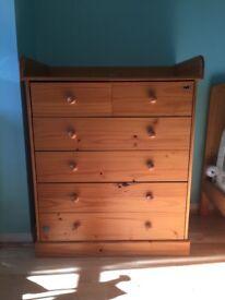 Pine wood nursery furniture : Wardrobe , Drawer / Changing Unit , Cot / Toddler Bed