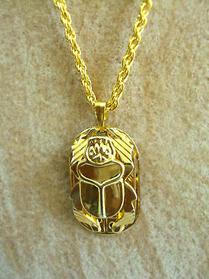 Scarab Beetle Hand Carved Necklace Pendant Egyptian Jewelry pharaohs Costume 102 - Egyptian Costume Jewelry