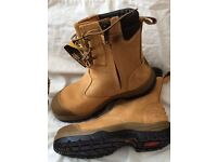 Safety Boots Oliver ATs, new, quality steel toe cap work boots, lace up with side zip, tan.