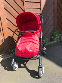 Red Maxi Cosi Bebe Confort Streety Pushchair with footmuff and raincover