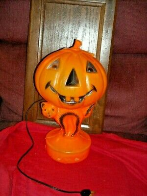 Vintage blow mold light Halloween Black cat Jack O Lantern Pumpkin