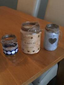 Around 50 jars for Sale with Hessian and Lace