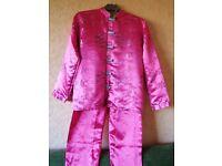 PRIMARK ESSENTIALS silky/satin pink floral embroidered pyjamas - chest 84-86 cm height 158 cm