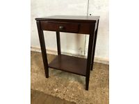 Mahogany Veneer Side Table Bedside with 1 Drawer