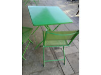 Apple Green Metal Bistro Garden/Patio table and 2 Mesh chair