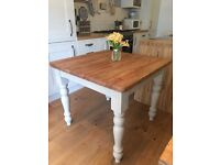 Solid pine farmhouse dining table - Annie Sloan 'country grey'