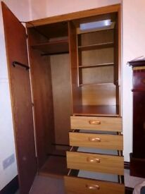 Wooden Wardrobe, with built-in light&mirrored cabinet, + 4 drawers for sale