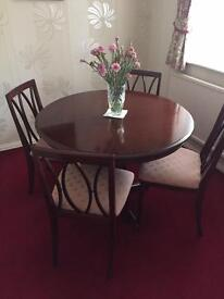 Mahogany Dining Table & 4 Chairs (as new)