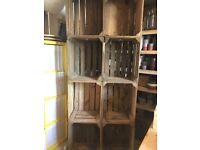Apple crate shelving unit with lights