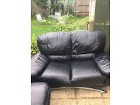 Sofa Suite, Black - 3 seater, 2 seater & armchair