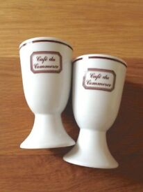 VTG China Tall Chocolate Cafe au Lait Cups 'Cafe du Commerce' 1960s Mid Century Modern winter drinks