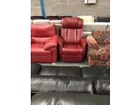 Electric reclining rock and swivel red leather chair