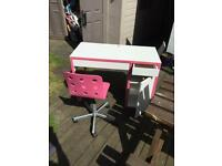 Pink and white wood and metal girls computer desk