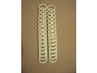 NEW 2 sealed packs each 15 white wood curtain rings internal measure 45mm.£8 ovno both/£5 ovno ea.
