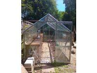 Greenhouse,8.5x12.5 glass/aluminium,inc heater & potting bench,buyer collects £300
