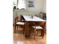 Dining Table, Mid-century Modern, 8 Seater, Marble Top, Solid Wood - £200