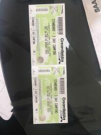 2x 3 day creamfields camping tickets