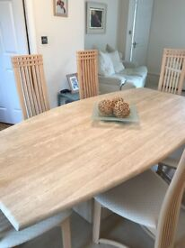 Stone/ marble dining room table and six chairs - immaculate condition