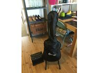 Crafter 'Cruiser' electric guitar with stand, padded bag, amp and leads.