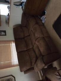 Recline three seat sofa and rocking reclining arm chair
