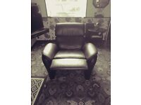 GENUINE REAL DARK BROWN RECLINER BY SCILLIG
