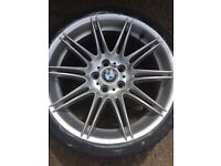 "Genuine Rear 9j BMW MV4 19"" 225 M Sport E90 E92 E93 Alloy Wheel With New Bridgestone Run Flat Tyre"