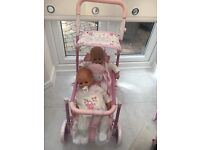 BABY ANBABELL DOLLS SHEEP DOUBLE PUSHCHAIR- gorgeous