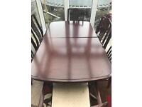 Dark Wood Dining Table 6x Chairs