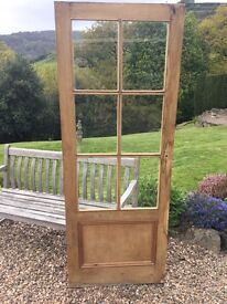 Vintage pine pannelled door with 6 toughened glass panels