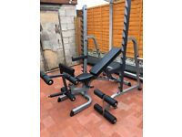 BODYSOLID HEAVY DUTY SQUAT RACK and FLAT INCLINE DECLINE BENCH + EXTRAS
