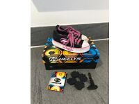 Kids Heelys X2 PURE Roller Skate Shoes size 11 in Black & Pink