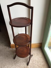 Collapsible solid mahogany afternoon tea stand