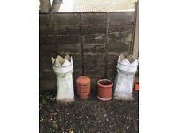 Crown chimney pots x 2
