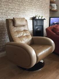 Gorgeous leather Armchair and Foot Stool
