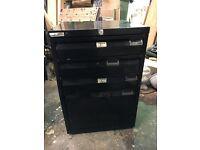 Metal black 4 draw filing cabinet 3 small draws 1 big one