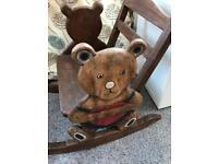 Vintage Solid Wood Children's Rocking Chair - Teddy Bear Heart Design
