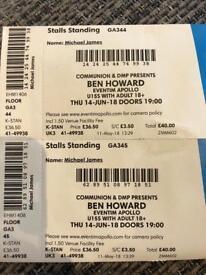 2 x Ben Howard Tickets, 14th June - TONIGHT
