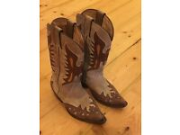 Sancho Nubuck Leather Genuine Cowboy Boots Size 4